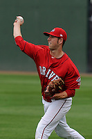Pitcher Aaron Wilkerson (18) of the Greenville Drive during a Media Day first workout of the season on Tuesday, April 7, 2015, at Fluor Field at the West End in Greenville, South Carolina. (Tom Priddy/Four Seam Images)