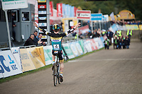 Eli Yserbit (BEL/Young Telenet Fidea) winning the U23 race<br /> <br /> U23 race<br /> Superprestige Zonhoven 2015