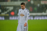 Sunday  14th   December 2014 <br /> Pictured: Former Spurs player Gylfi Sigurosson of Swansea City leaves the pitch with his head down after the Swans lose 2-1 at home <br /> Re: Barclays Premier League Swansea City v Tottenham Hotspur  at the Liberty Stadium, Swansea, Wales,UK
