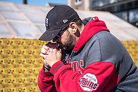 A man prays at the George Floyd Memorial at the site where he died outside Cup Foods at E 38th Street and Chicago Avenue during the Derek Chauvin Trial on April 1, 2021 in Minneapolis, Minnesota. <br /> CAP/MPI/IS/CT<br /> ©CT/IS/MPI/Capital Pictures