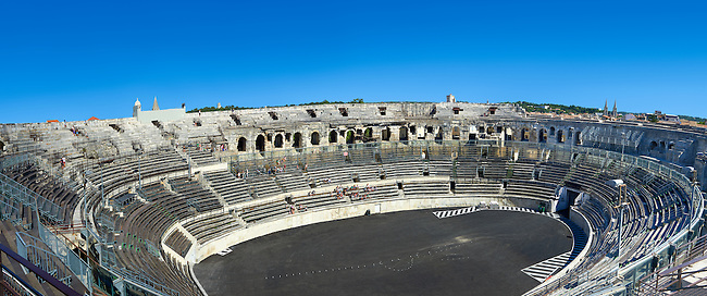 Interior of the Arena of Nemes, a Roman Ampitheatre built around 70 AD during the reign of Emperor Augustus, Nimes, France