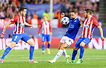 Danny Drinkwater (c) of Leicester City competes for the ball with Saul Niguez Esclapez (l) and Jorge Resurreccion Merodio, Koke, of Atletico de Madrid during their 2016-17 UEFA Champions League Quarter-Finals 1st leg match between Atletico de Madrid and Leicester City at the Estadio Vicente Calderon on 12 April 2017 in Madrid, Spain. Photo by Diego Gonzalez Souto / Power Sport Images