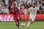 Assim Madibo of Qatar (L) fights for the ball with Khamis Esmaeel Zayed of United Arab Emirates (R) during the AFC Asian Cup UAE 2019 Semi Finals match between Qatar (QAT) and United Arab Emirates (UAE) at Mohammed Bin Zaied Stadium  on 29 January 2019 in Abu Dhabi, United Arab Emirates. Photo by Marcio Rodrigo Machado / Power Sport Images
