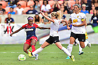 Houston, TX - Sunday Oct. 09, 2016: Crystal Dunn, McCall Zerboni during the National Women's Soccer League (NWSL) Championship match between the Washington Spirit and the Western New York Flash at BBVA Compass Stadium.