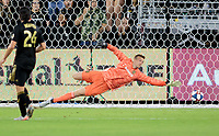 LOS ANGELES, CA - OCTOBER 29: Tyler Miller #1 goalkeeper of the Los Angeles FC dives for the ball during a game between Seattle Sounders FC and Los Angeles FC at Banc of California Stadium on October 29, 2019 in Los Angeles, California.