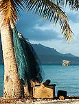 Fishing nets on Motu in Raiatea, French Polynesia