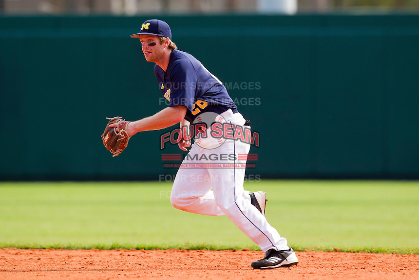 Michigan Wolverines second baseman Kevin Krantz #28 during a game against the Seton Hall Pirates at the Big Ten/Big East Challenge at Al Lang Stadium on February 18, 2012 in St. Petersburg, Florida.  (Mike Janes/Four Seam Images)