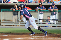 Tennessee Smokies Second Baseman Matt Camp #1 swings at a pitch during a game against the Chattanooga Lookouts at Smokies Park on June 18, 2011 in Kodak, Tennessee.  Chattanooga defeated Tennessee 5-3.  (Tony Farlow/Four Seam Images)