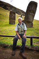 Rapa Nui, Easter island, oct 2011. Valentin Riroroko (79) elegido Rey de Rapa Nui, en el volcan Rano Raraku donde antiguamente se tallaban los Moai. In Rapa Nui, also called Easter Island, the  king of the original people is back after a hundred years RirorokoTuki Valentino, the new monarch, is  an old man who has made his living as a farmer and fisherman and  traveled the world as a ship´s stowaways . <br /> He lives in a modest house in a rural area of the island near their 8 children and 24grandchildren.<br /> He was proclaimed King by the Assembly of Rapa Nui in July, and his reign has aunique purpose:  to finish with the Treaty of Wills from  1888, by which Chile took possession of Easter Island. The demand for Valentino and people ask seeks for Independence and also a billionare suit against Chilean state  for a century of apartheid and discrimination.