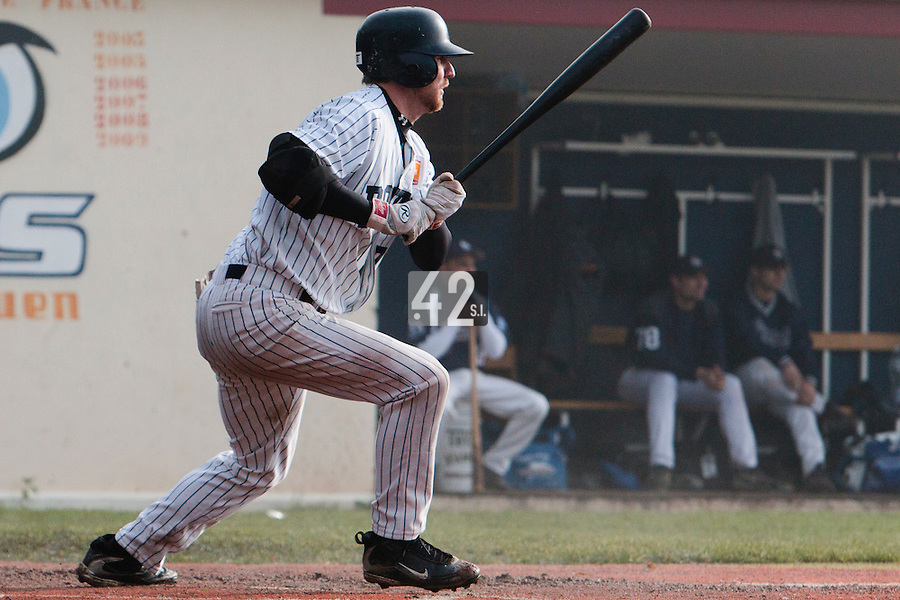 24 October 2010: Aaron Hornostaj of Rouen makes contact during Savigny 8-7 win (in 12 innings) over Rouen, during game 3 of the French championship finals, in Rouen, France.