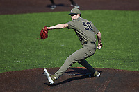 Vanderbilt Commodores relief pitcher Luke Murphy (50) in action against the South Carolina Gamecocks at Hawkins Field on March 21, 2021 in Nashville, Tennessee. (Brian Westerholt/Four Seam Images)