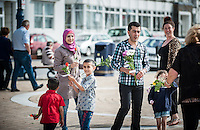 Aberystwyth, Ceredigion, West Wales Tuesday 12 July 2016:  Some of the Syrian refugees who arrived in Aberystwyth just before Christmas last year. Have in the wake of the EU exit vote come out on the streets of Aberystwyth Prom to hand out flowers to the people of Aber. Each flower has a message of thanks to the town for welcoming them  attached to it.