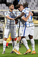 Romelu Lukaku of FC Internazionale celebrates with Achraf Hakimi and Nicolo Barella after scoring the goal of 1-2 during the Italy Cup round of 16 football match between ACF Fiorentina and FC Internazionale at Artemio Franchi stadium in Firenze (Italy), January 13th, 2021. Photo Andrea Staccioli / Insidefoto