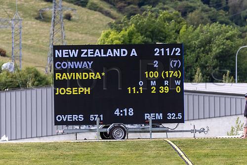 20th November 2020; John Davies Oval, Queenstown, Otago, South Island of New Zealand. New Zealand A versus  West Indies, Scoreboard