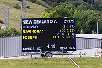 20th November 2020; John Davies Oval, Queenstown, Otago, South Island of New Zealand. New Zealand A versus  West Indies, Scoreboard