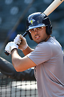 Outfielder Desmond Lindsay (2) of the Columbia Fireflies works out before a game against the Lexington Legends on Friday, April 21, 2017, at Spirit Communications Park in Columbia, South Carolina. Columbia won, 5-0. (Tom Priddy/Four Seam Images)