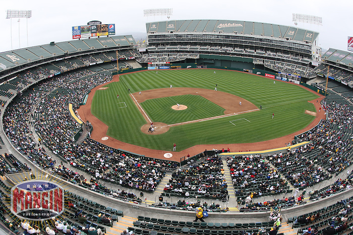 OAKLAND, CA - MAY 24:  Overall general interior stadium view of the home stadium for the Oakland Athletics, the Oakland-Alameda County Coliseum during the game against the Arizona Diamondbacks on May 24, 2009 in Oakland, California. Photo by Brad Mangin