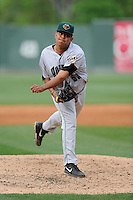 Relief pitcher Carlos Diaz (53) of the Augusta GreenJackets delivers a pitch in a game against the Greenville Drive on Sunday, April 12, 2015, at Fluor Field at the West End in Greenville, South Carolina. Augusta won, 2-1. (Tom Priddy/Four Seam Images)