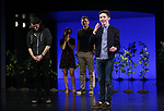"Alex Boniello and Andrew Barth Feldman takes his final ""Dear Evan Hansen"" bows and ""Passes the Polo"" to Jordan Fisher at the Music Box Theatre on January 26, 2020 in New York City."