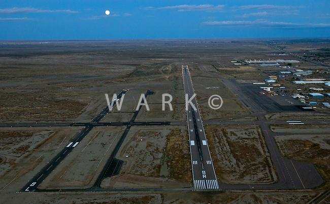 Pueblo Airport with full moon dusk landing. Oct 2013