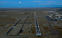 Pueblo Airport with full moon dusk landing. Oct 2013