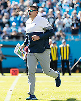 CHARLOTTE, NC - NOVEMBER 3: head coach Mike Vrabel of the Tennessee Titans takes the field prior to the game during a game between Tennessee Titans and Carolina Panthers at Bank of America Stadium on November 3, 2019 in Charlotte, North Carolina.