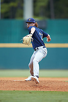 Caleb Logerwell (23) of Homeschool in McDonough, GA playing for the Milwaukee Brewers scout team during the East Coast Pro Showcase at the Hoover Met Complex on August 3, 2020 in Hoover, AL. (Brian Westerholt/Four Seam Images)