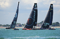 Land Rover BAR, JULY 23, 2016 - Sailing: Close racing between Land Rover BAR, Oracle Team USA and Artemis Racing during day one of the Louis Vuitton America's Cup World Series racing, Portsmouth, United Kingdom. (Photo by Rob Munro/Stewart Communications)