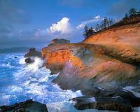 Waves pounding Cape Kiwanda near Pacific City, Oregon