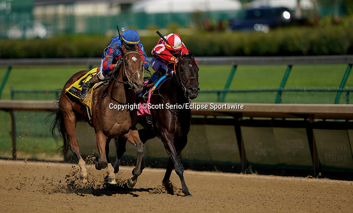 September 5, 2020: Bells' the One, #4, ridden by Corey J. Lanerie, wins the Derby City Distaff on Kentucky Derby Day. The races are being run without fans due to the coronavirus pandemic that has gripped the world and nation for much of the year, with only essential personnel, media and ownership connections allowed to attend at Churchill Downs in Louisville, Kentucky. Scott Serio/Eclipse Sportswire/CSM