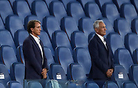 Italian national football team's coach Roberto Mancini, left, and federation's president Gabriele Gravina sing the national anthem before the start of the Italian Cup football final match between Napoli and Juventus at Rome's Olympic stadium, June 17, 2020. Napoli won 4-2 at the end of a penalty shootout following a scoreless draw.<br /> UPDATE IMAGES PRESS/Isabella Bonotto