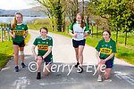 Cara O'Sullivan, Aoibhin Evans, Abbie Daly and Katie Murphy warming up for their Muckross Rowing club virtual Easter Marathon challenge in Muckross on Tuesday