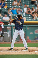 Rymer Liriano (27) of the Salt Lake Bees bats against the El Paso Chihuahuas at Smith's Ballpark on July 5, 2018 in Salt Lake City, Utah. El Paso defeated Salt Lake 3-2. (Stephen Smith/Four Seam Images)