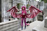 Pink Rathian Dragon of Monster Hunter cosplay by beautiful asian girl, Pax Prime 2015, Seattle, Washington State, WA, America, USA.