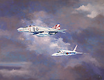 A U S Navy F-4 Phantom escorting an RA-5C Vigilante on a photographic reconnaissance mission above Vietnam during the war. Oil on canvas, 28x36.
