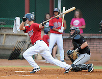 Infielder Nick Lockwood (7) of the Elizabethton Twins, Appalachian League affiliate of the Minnesota Twins, in a game against the Bristol White Sox on August 18, 2011, at Joe O'Brien Field in Elizabethton, Tennessee. Elizabethton defeated Bristol, 13-3. (Tom Priddy/Four Seam Images)