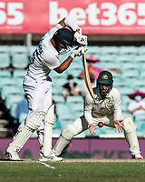 10th January 2021; Sydney Cricket Ground, Sydney, New South Wales, Australia; International Test Cricket, Third Test Day Four, Australia versus India; Cheteshwar Pujaraof India plays a shot as Matthew Wade of Australia waits for a catching opportunity