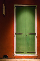 French Quarter, New Orleans, Louisiana.  Doorway in Spot Light at Night.