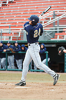 Pittsburgh Panthers outfielder Boo Vazquez (24) hits a home run during game against the St. John's Redstorm at Jack Kaiser Stadium on March 22, 2013 in Queens, New York.  Pittsburgh defeated St. John's 12-9.  (Tomasso DeRosa/Four Seam Images)