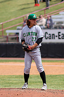 Clinton LumberKings pitcher Collin Kober (27) on the mound during a Midwest League game against the Wisconsin Timber Rattlers on April 26, 2018 at Fox Cities Stadium in Appleton, Wisconsin. Clinton defeated Wisconsin 7-3. (Brad Krause/Four Seam Images)