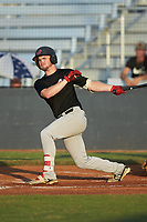 Chase Orrock (26) (Southeastern Community College) of the Concord A's follows through on his swing against the Mooresville Spinners at Moor Park on July 31, 2020 in Mooresville, NC. The Spinners defeated the Athletics 6-3 in a game called after 6 innings due to rain. (Brian Westerholt/Four Seam Images)