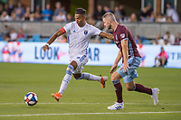 SAN JOSÉ CA - JULY 27: Danny Hoesen #9 and Tommy Smith #5 during a Major League Soccer (MLS) match between the San Jose Earthquakes and the Colorado Rapids on July 27, 2019 at Avaya Stadium in San José, California.