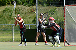 GER - Hannover, Germany, May 30: During the Women Lacrosse Playoffs 2015 match between DHC Hannover (black) and SC Frankfurt 1880 (red) on May 30, 2015 at Deutscher Hockey-Club Hannover e.V. in Hannover, Germany. Final score 23:3. (Photo by Dirk Markgraf / www.265-images.com) *** Local caption *** Jaana Mattwig #9 of SC 1880 Frankfurt, Celina Aniolek #40 of SC 1880 Frankfurt