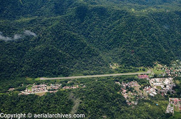 aerial photograph of Golfino airport at a Pacific coastal village Golfino, Costa Rica | fotografía aérea del Aeropuerto Golfino en un pueblo de la costa del Pacífico Golfino