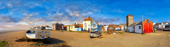 Sea front houses and shingle beach of Aldeburgh , Suffolk, England