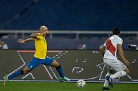 5th July 2021; Nilton Santos Stadium, Rio de Janeiro, Brazil; Copa America, Brazil versus Peru; Richarlison of Brazil takes on Corzo of Peru