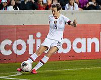 HOUSTON, TX - JANUARY 31: Megan Rapinoe #15 of the USA takes a corner kick during a game between Panama and USWNT at BBVA Stadium on January 31, 2020 in Houston, Texas.