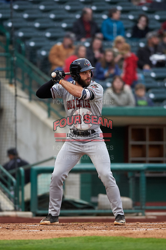 Quad Cities River Bandits first baseman Scott Schreiber (11) during a Midwest League game against the Fort Wayne TinCaps at Parkview Field on May 3, 2019 in Fort Wayne, Indiana. Quad Cities defeated Fort Wayne 4-3. (Zachary Lucy/Four Seam Images)
