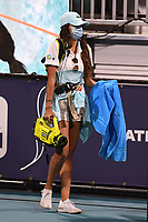 MIAMI GARDENS, FL - MARCH 25: A worker is seen Sanitizing the court prior to Coco Gauff Vs Anastasija Sevastova match at the 2021Miami Open at Hard Rock Stadium on March 25, 2021 in Miami Gardens, Florida <br /> CAP/MPI04<br /> ©MPI04/Capital Pictures