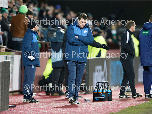 Hibs v St Johnstone...30.01.16   Utilita Scottish League Cup Semi-Final, Tynecastle..<br /> A downcast Tommy Wright<br /> Picture by Graeme Hart.<br /> Copyright Perthshire Picture Agency<br /> Tel: 01738 623350  Mobile: 07990 594431